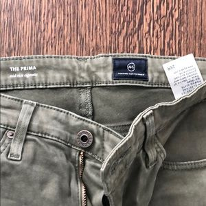 AG The Prima Mid-rise skinny jean. Olive green